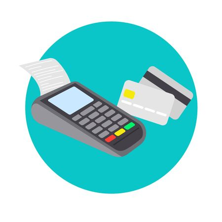 Payment terminal and credit cards. Pos machine illustration. Flat vector design.