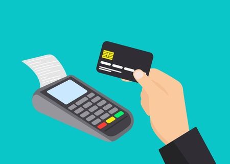 Payment terminal and male hand holding credit card. Pos machine illustration. Flat vector design isolated.