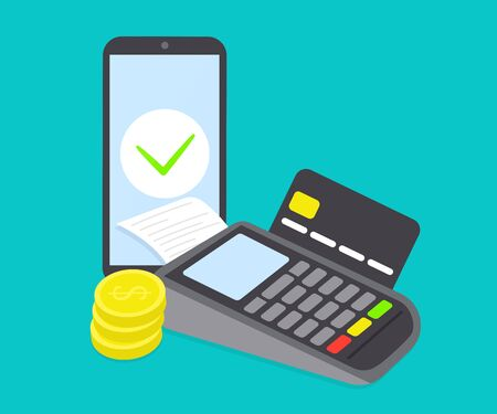 Payment terminal, credit card and mobile phone. Pos machine illustration. Flat vector design isolated. Stock Illustratie