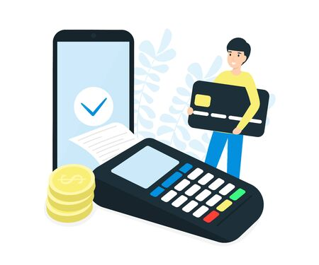Payment terminal, coins, mobile phone and man character hold credit card. Pos machine illustration. Flat vector design concept. Stock Illustratie