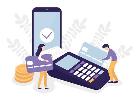 Payment terminal, credit cards, mobile phone and people characters. Pos machine illustration. Flat vector design concept. Stock Illustratie