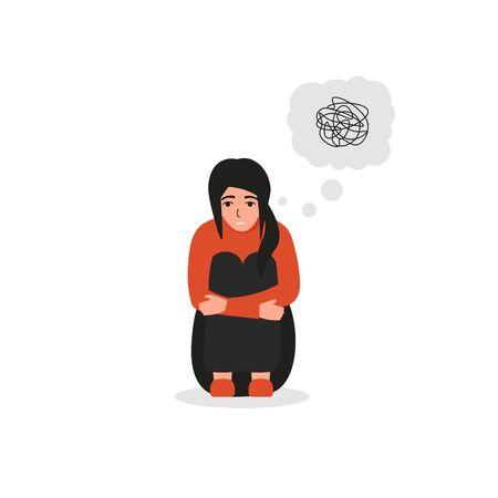 Mujer con pensamientos confusos, trastorno de identidad disociativo, problemas psiquiátricos, mentales.