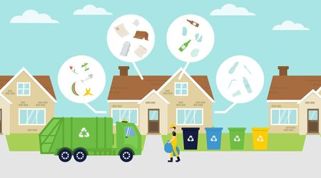 Rubbish truck collecting garbage, bins in the street. Separate waste organic, paper, glass, plastic. Recycling concept illustration.