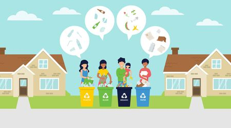 Waste sorting vector illustration with people on the street segregate the garbage in bins. Zero waste life style. Stock Illustratie