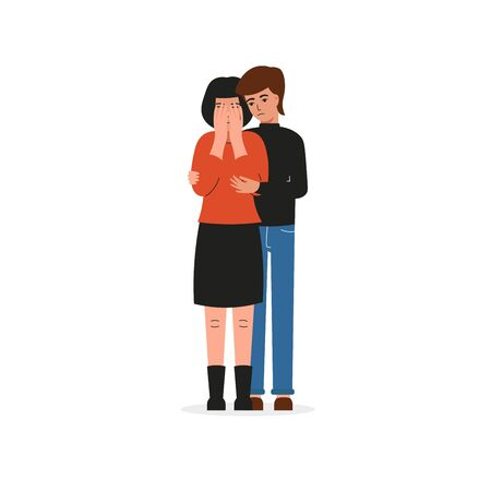 Guy hugs a crying girl. Sad female character, bad emotions, solitude. Flat vector cartoon illustration design.