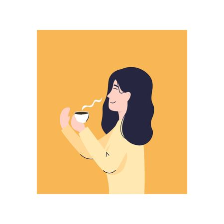 Girl enjoys the smell of coffee. Flat vector modern illustration.