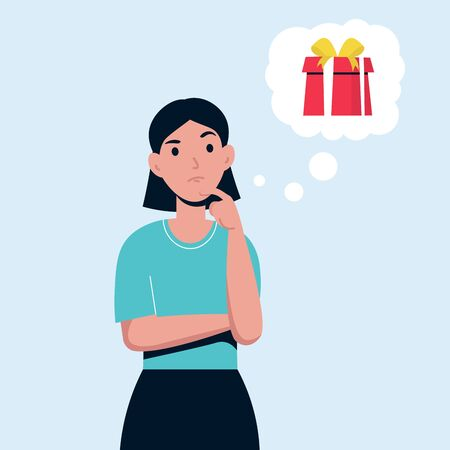 Woman wants to give a good gift. Girl thinks about a present to give her friend. Flat vector isolated character.