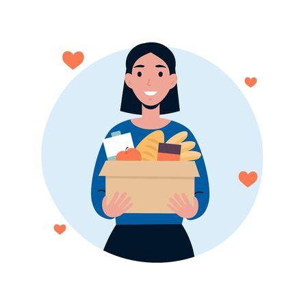 Il volontario del personaggio della donna tiene una grande scatola di alimenti. Concetto di donazione di cibo. Piatto di vettore del fumetto illustrazione isolato su fondo bianco.