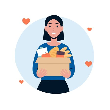 Woman character volunteer hold big box of foods. Food donation concept. Flat vector cartoon illustration isolated white background.