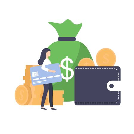 Credit score concept. Flat vector calculator, coins, woman with card, purse, bag of money.