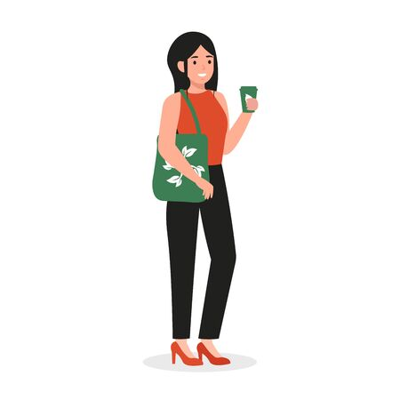 Young girl use eco bag and coffee in reusable glass. Ecology happy woman character with eco cup. Save the planet, zero waste life style. Flat vector cartoon illustration isolated white background.