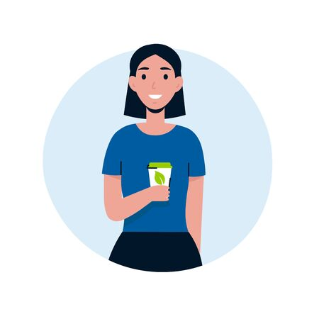 Young girl use eco cup, coffee in reusable glass. Ecology happy woman character. Save the planet, zero waste life style. Flat vector cartoon illustration. Stock Illustratie
