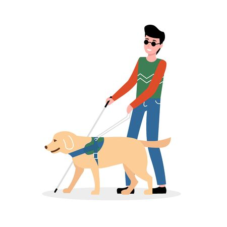 Blind man holding stick, walking with guide dog. Disabled male with blindness isolated white background. Flat vector illustration. Vetores