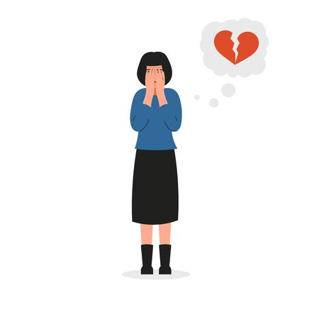 Girl covers her face and cries. Sad female character, bad emotions, broken heart, unhappy love. Flat vector illustration design. Illustration