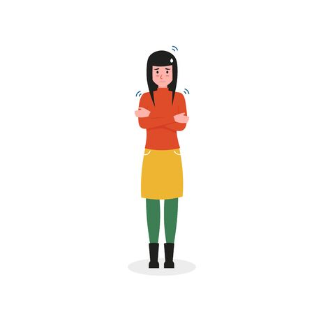 Girl has a cold and fever. Flat vector cartoon character isolated white background.