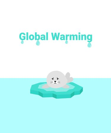 Global warming problem ecology. Sad scared fur seal on ice block, icy cliff or iceberg in the ocean. Flat vector cartoon illustration.
