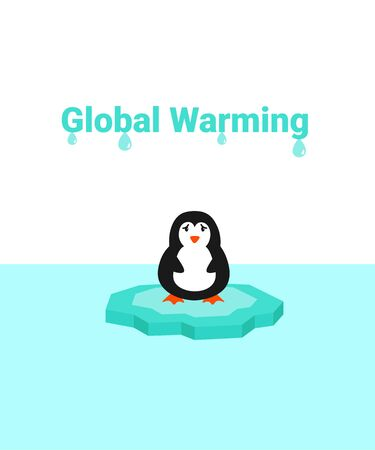 Global warming problem ecology. Sad scared penguin on ice block, icy cliff or iceberg in the ocean. Flat vector cartoon illustration.