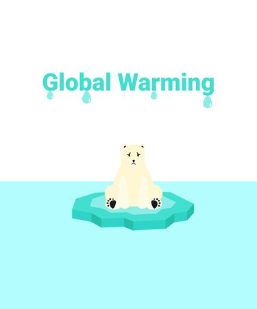 Global warming problem ecology. Sad scared polar bear on ice block, icy cliff or iceberg in the ocean. Flat vector cartoon illustration. Stock Illustratie