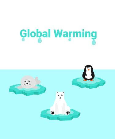 Global warming problem ecology. Sad scared animals on ice block, icy cliff or iceberg in the ocean. Flat vector cartoon illustration penguin, polar bear and fur seal.