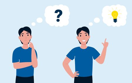 Man has idea and question. Male having solution, idea lightbulb creative thinking concept. solved question. Flat vector cartoon illustration.