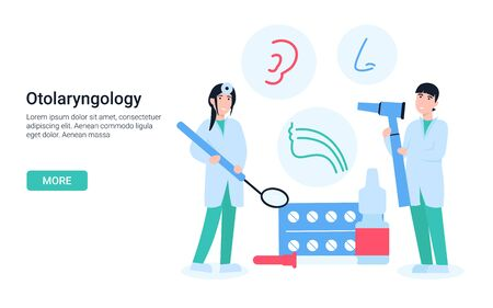 Otolaryngologist doctor woman and man with otolaryngology tools. Icons ear, throat, nose. Flat vector cartoon concept illustration for landing page, web, poster, banner, layout, template.