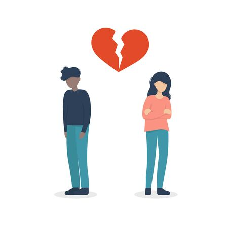 A couple guy and girl crying due to a broken heart. Flat vector illustration design.