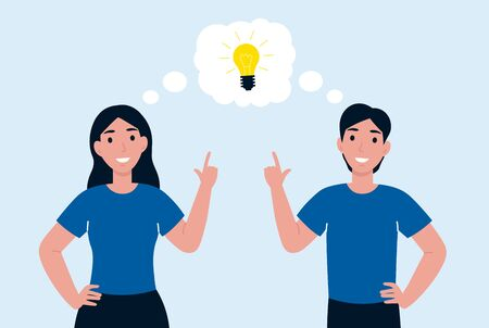 Man and woman have idea. Male having solution, idea lightbulb creative thinking concept solved question, thumbs up. Flat vector cartoon illustration.