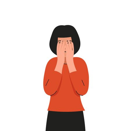 Girl covers her face and cries. Sad female character waist high portrait, bad emotions, solitude. Flat vector illustration design.