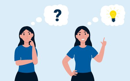 Woman has idea and question. Female having solution, idea lightbulb concept, creative thinking, solved question. Flat vector cartoon illustration.
