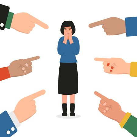 Sad crying woman surrounded by hands fingers pointing to her. Publicly condemn, society pressure. Flat vector cartoon illustration concept.