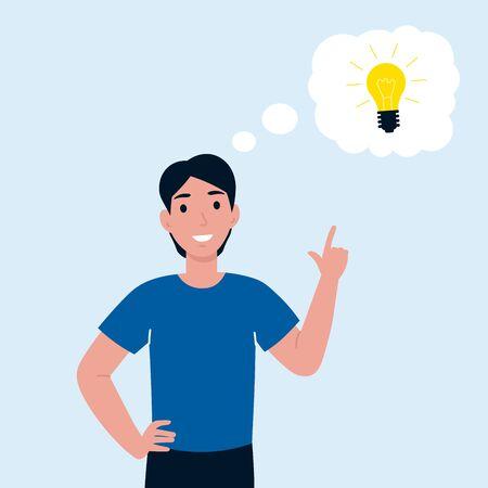 Man has idea. Female having solution, lightbulb idea creative thinking concept, solved question. Flat vector cartoon illustration. Ilustrace