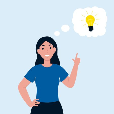 Woman has idea. Female having solution, lightbulb idea creative thinking concept. solved question. Flat vector cartoon illustration.