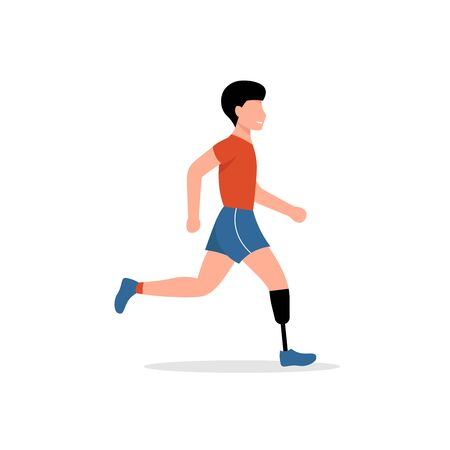 Man with bionic leg is running. Disabled person with prosthesis. Sportsman with a mechanical leg.