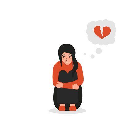 Sad girl character sitting on the floor, bad emotions, broken heart, unhappy love. Flat vector illustration design.
