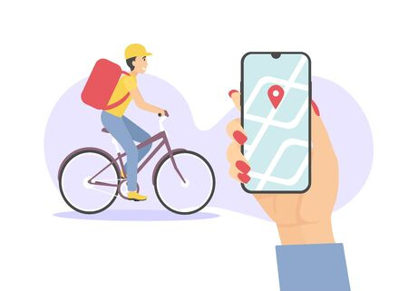 Courier male on bicycle with parcel box on the back delivering food in the city. Hand woman customer hold phone with map navigation. Ecological fast delivery shopping concept flat vector illustration