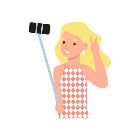 Girl holds selfie stick device and photograph of yourself from a distance on mobile phone. Flat vector modern cartoon illustration.