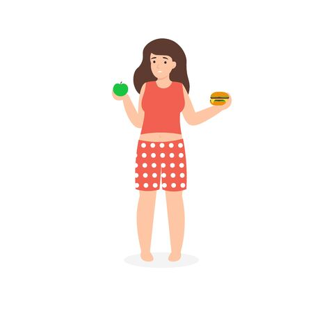 Healthy and unhealthy nutrition. Girl choose between apple, proper food vs hamburger, junk food, fast food. Flat vector cartoon illustration isolated white background.