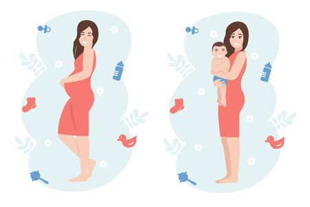 Happy pregnant woman. Girl expecting a baby holds on to big belly. Female holds child in her arms. Flat vector cartoon character illustration isolated white background. Ilustracje wektorowe