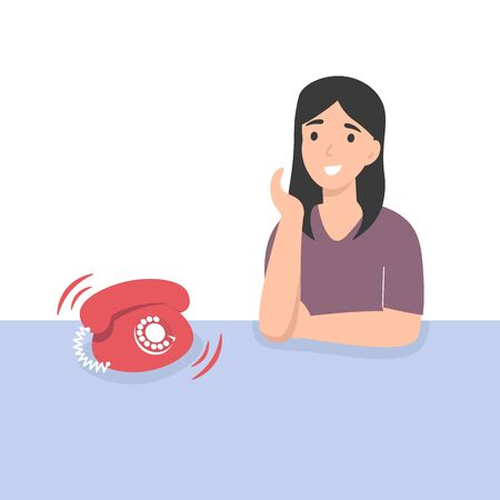 Happy girl receive an incoming call. Flat vector cartoon illustration.