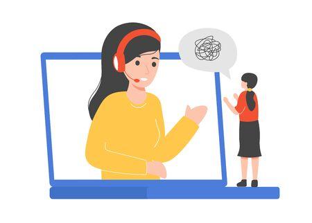 Emotional and psychological support. Occupational therapists and psychologists provide emotional and psychological support talking and listening woman online. Flat vector cartoon illustration concept Vektorové ilustrace
