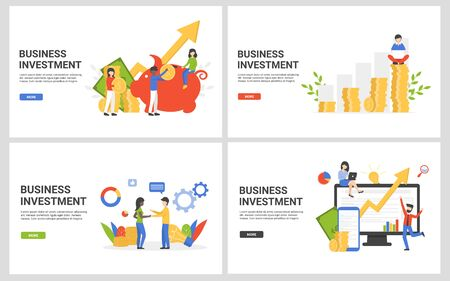Business set financial investment. Flat concept vector illustration design for for landing page, web, poster, banner, flyer, layout, template.