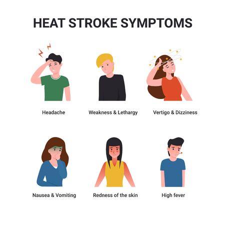 Définissez des personnages présentant des symptômes de coup de chaleur. Illustration de dessin animé de vecteur plat. Vecteurs
