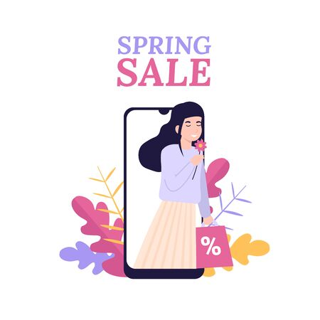 Stylish young girl rejoices in spring and sale. Online shop, mobile shopping app. Flat vector modern cartoon illustration. Concept for web design, banner, app, landing page.
