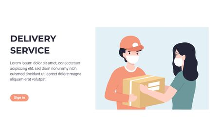 Delivery courier in medical face mask and woman customer. Concept for banner, poster, layout, website. Flat modern vector illustration.