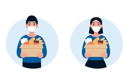 Las personas que se ofrecen como voluntarios con una máscara médica protectora sostienen una gran caja de alimentos. 2019-nCoV. Ncov, covid 2019, concepto de Coronovirus. Pandemia de nuevos coronavirus. Ilustración de diseño moderno de dibujos animados de vector plano. Ilustración de vector