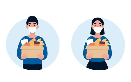 People volunteer in a protective medical mask hold big box of foods. 2019-nCoV. Ncov, covid 2019, Coronovirus concept. Novel coronavirus pandemic. Flat vector cartoon modern design illustration.