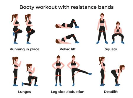 Set Booty or glutes workout with resistance bands. Stay home and do workout. Flat vector cartoon modern illustration.