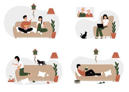Set Stay home concepts. Couple at home isolation. Ncov, covid 2019, Prevention Coronovirus. Novel coronavirus pandemic. Flat vector cartoon modern illustration.