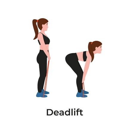 Booty or glutes workout with resistance bands. Deadlift concept. Stay home and do sport. Flat vector cartoon modern illustration.