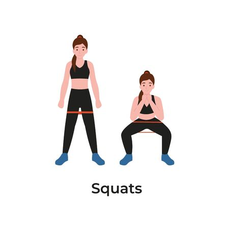 Booty or glutes workout with resistance bands. Squats concept. Stay home and do sport. Flat vector cartoon modern illustration.